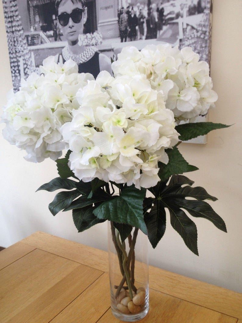 Etsy & STUNNING LARGE HYDRANGEA Artificial Flower Vase Arrangement Statement Faux Flowers Tall Arrangement Glass Vase With Faux Water Centrepiece