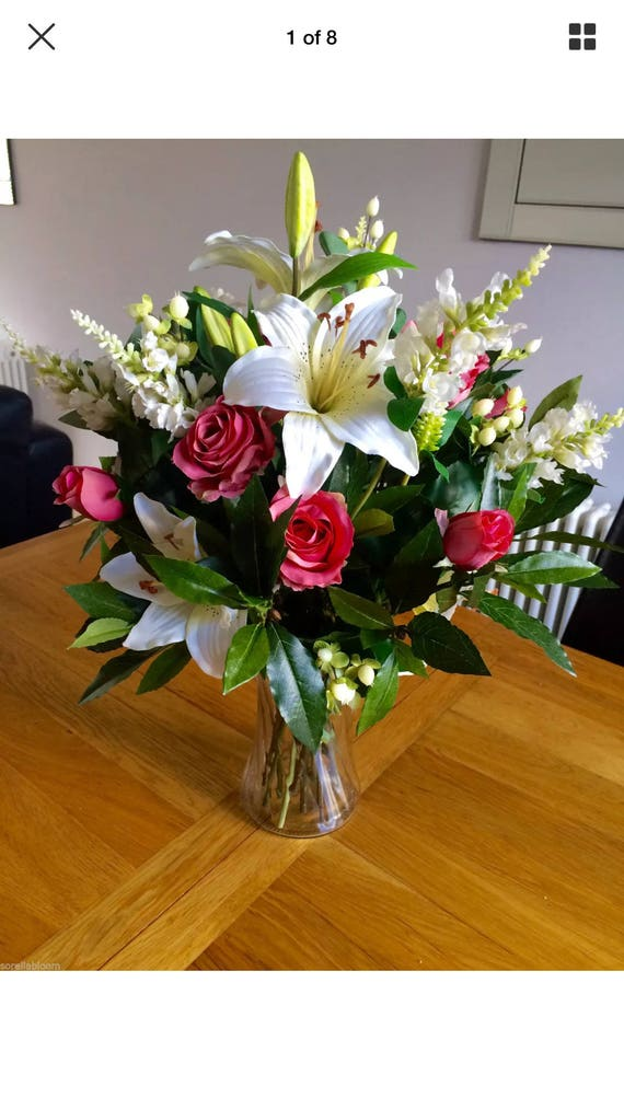 300 & Beautiful Large Artificial Flowers Vase Bouquet Arrangement In Glass Vase With Faux Water