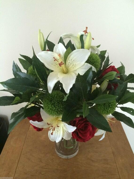 Large Artificial Flowers Bouquet Vase Arrangement Silk Flowers Etsy