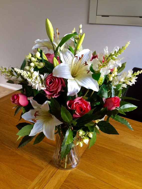 Large Artificial Flowers Vase Arrangement Glass Vase Faux Etsy