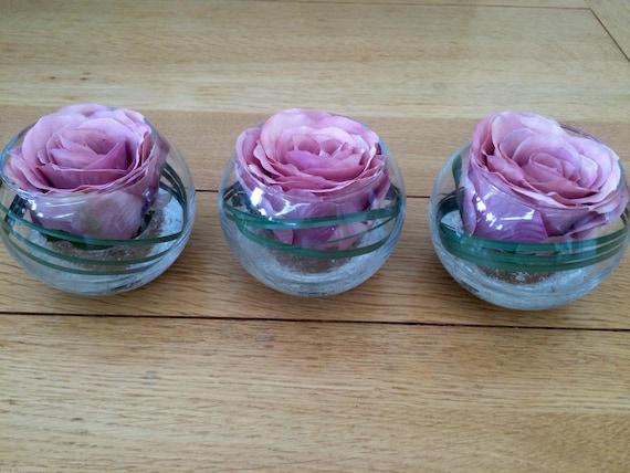 Home Decor Set Of 3 Glass Bowls Vintage Pink Rose Grass Artificial Flower Arrangements Home Furniture Diy Breadcrumbs Ie