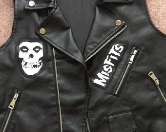 3b7817209ba45 Misfits Crimson Ghost Skull Logo Black Faux Leather Biker Motorcycle  Sleeveless Jacket Horror Punk Vegan Vegetarian Danzig Samhain
