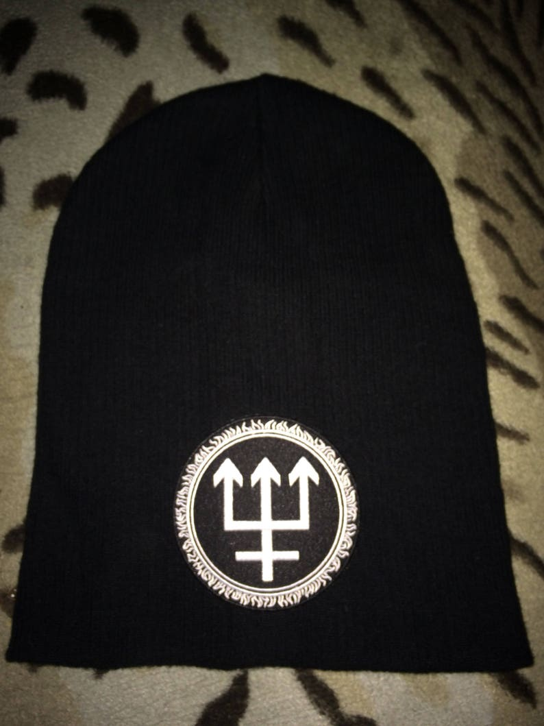 3f0faf4489e Watain Trident Wolf Eclipse Patch Black Slouch Beanie Black