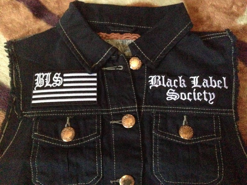 38fd3ed1179 Black Label Society BLS U.S. Flag Patch Girls Black Denim