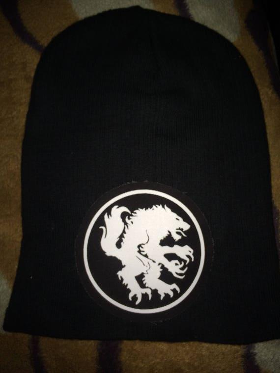 dfa040faa23 Black Doom Metal Punk Patch Slouch Beanie Hat Motorhead Watain