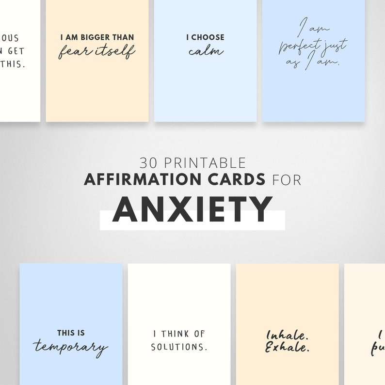 Printable Affirmation Cards Anxiety Relief for Kids Vision image 0