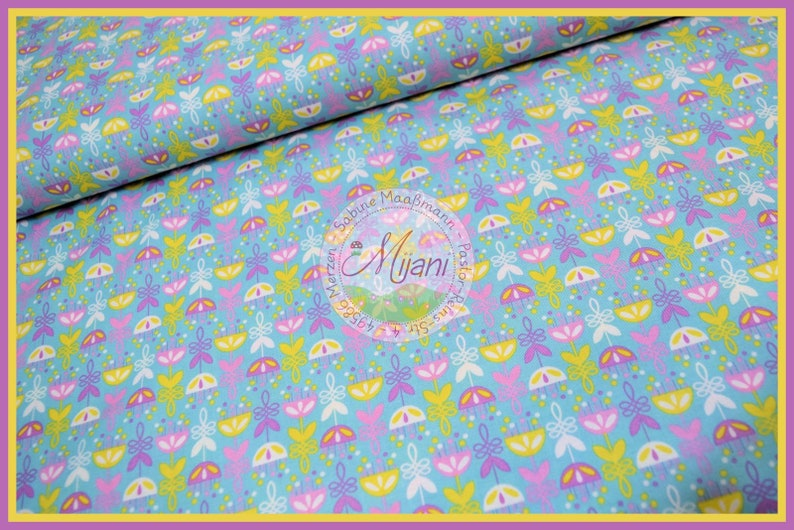 Aunt Ema Cotton Samba Blossoms turquoise light blue 140 cm Mijani