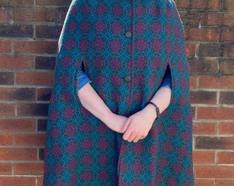 Vintage welsh wool green pink eclipse  tapestry cape large long length button front 60s 70s