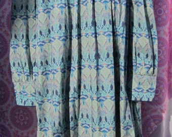 Vintage Liberty Print Marion Donaldson Cotton Smock Dress 70s 80s size 14 Blue Tana Lawn