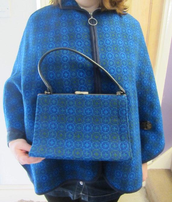 Vintage welsh wool tapestry cape bag blue free siz