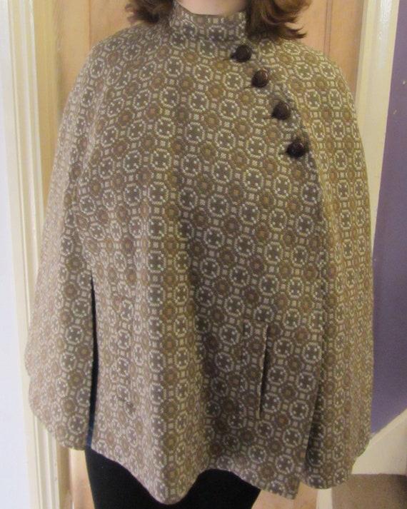 Vintage welsh wool tapestry cape brown beige light