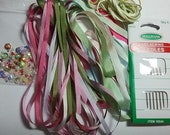 Silk Ribbon Pack Mixed 4 mm 7 mm MPS 03 Beginners Pack Silk Ribbon Embroidery, Embroidery Supplies, Ribbon.
