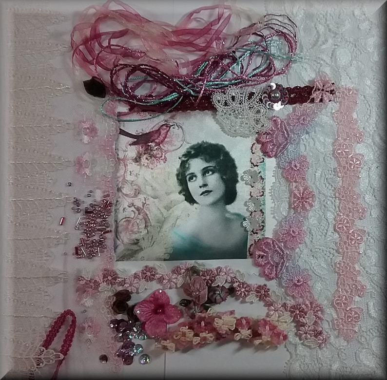 Blue Theme Quilting. Textile Art Burgundy Lace and Roses Crazy Quilting Supplies