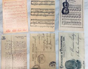 6 Vintage Style Music & Letters Postcards