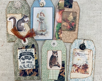 Sweet Collaged Tags Set of 6 by JoAnn