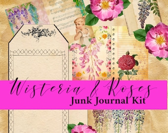 Wisteria & Roses Physical Prints Junk Journal Kit