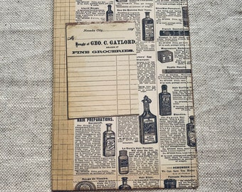 Vintage Groceries Stitched Cardstock Journal Cover with Ephemera