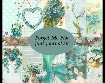 Forget-Me-Not DIGITAL Junk Journal Kit