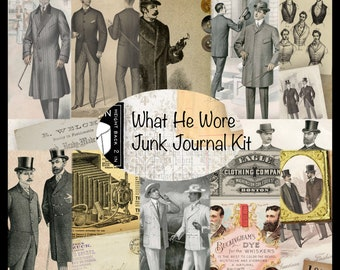 WHAT HE WORE Vintage Masculine Fashion Junk Journal Kit - digital version