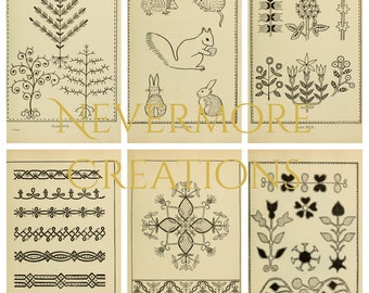 Vintage 1917 Embroidery Patterns 44 Images 5x7