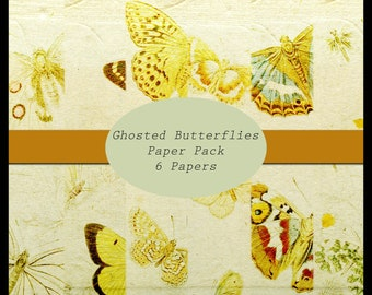 Ghosted Butterflies DIGITAL Paper Pack / Journal Pages set of 6
