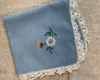 Vintage Blue Embroidered Handkerchief