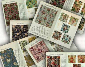 Hand-Block Printed Fabric DIGITAL Paper Pack - 7 Pages