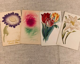 Floral Stems Authentic Vintage Postcards Set of 4