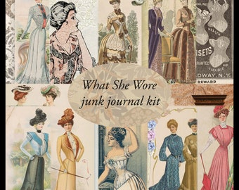 WHAT SHE WORE Vintage Feminine Fashion Junk Journal Kit - digital version
