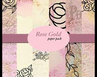 Rose Gold PRINTED Paper Pack