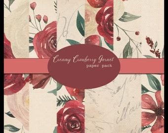 Creamy Cranberry Garnet DIGITAL Paper Pack