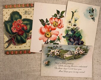 Floral Wishes Authentic Vintage Postcards Set of 4