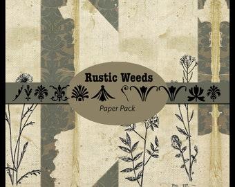 Rustic Weeds DIGITAL Paper Pack