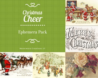 Christmas Cheer DIGITAL Ephemera Pack 45 Holiday Images