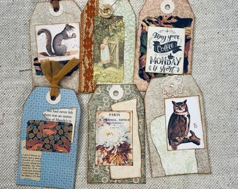 Autumn Collaged Tags #3 Set of 6 by JoAnn
