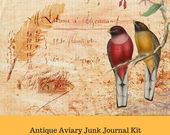Antique Aviary PHYSICAL Prints Junk Journal Kit
