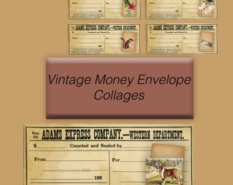 Vintage Money Envelope Collage Ephemera Sheets - Printed
