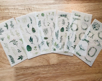 Greenery Washi Sticker Sheets Set of 6