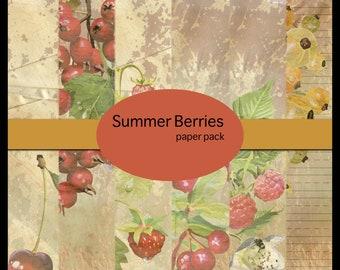 Summer Berries DIGITAL Paper Pack - set of 6