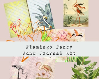 Flamingo Fancy PRINTED Junk Journal Kit