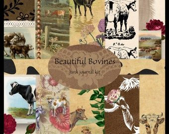 Beautiful Bovines DIGITAL Junk Journal Kit