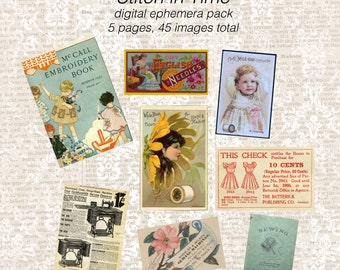 Stitch in Time DIGITAL Sewing Ephemera Pack - 45 images