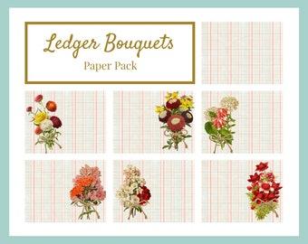 Ledger Bouquets DIGITAL Paper Pack 6 Pages + Bonus Background Page