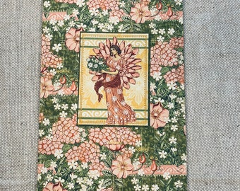 Pink Garden Cardstock Stitched Journal Cover with Pockets & Ephemera
