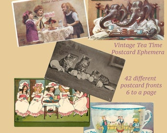 Vintage Teatime Postcards - 42 images