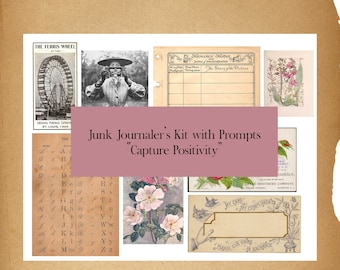 Capture Positivity PRINTED Journal Collage Kit & Prompts