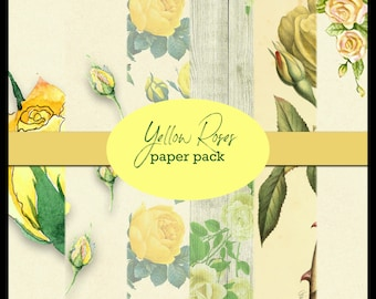 Yellow Roses DIGITAL Paper Pack