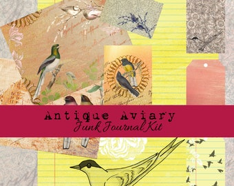 Antique Aviary Digital Junk Journal Kit