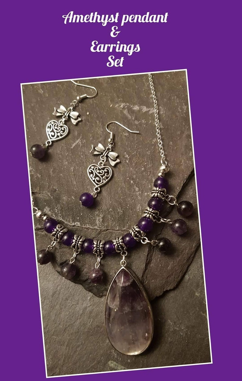 Amethyst large teardrop pendant and beads set