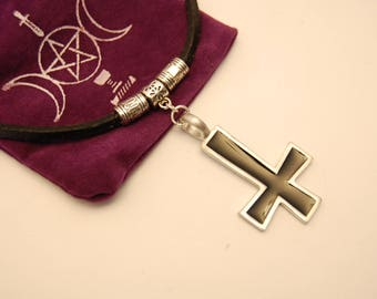 leather choker, pewter inverted cross.